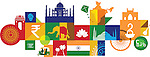 Illustrative collage of tourist attractions in India, Asia