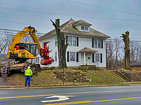 Clearing company removes trees from property on South State Street where a new office building and apartment complex will be built. The houses on the property will be demolished.