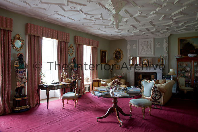 The High Hall, now the drawing room, with its 17th century plasterwork ceiling