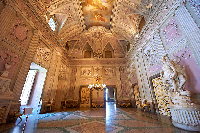 """""""The Room of the Bodyguards"""" - the second antechamber is also called the """"Room of Stuccoes"""" for its rich decoration. The  Kings of Naples Royal Palace of Caserta, Italy. A UNESCO World Heritage Site"""