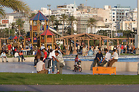 Tripoli, Libya, North Africa - Friday Afternoon in the Park, near the Green Square, Children's Slide in Rear.