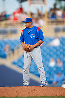South Bend Cubs relief pitcher Manuel Rodriguez (35) gets ready to deliver a pitch during the first game of a doubleheader against the Lake County Captains on May 16, 2018 at Classic Park in Eastlake, Ohio.  South Bend defeated Lake County 6-4 in twelve innings.  (Mike Janes/Four Seam Images)