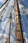 The mast and rigging of the Pride of Baltimore ship at the Maritime Festiville in Port Washington Wisconsin
