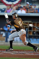 Bradenton Marauders outfielder Josh Bell (17) at bat during a game against the Charlotte Stone Crabs on April 4, 2014 at Charlotte Sports Park in Port Charlotte, Florida.  Bradenton defeated Charlotte 9-1.  (Mike Janes/Four Seam Images)