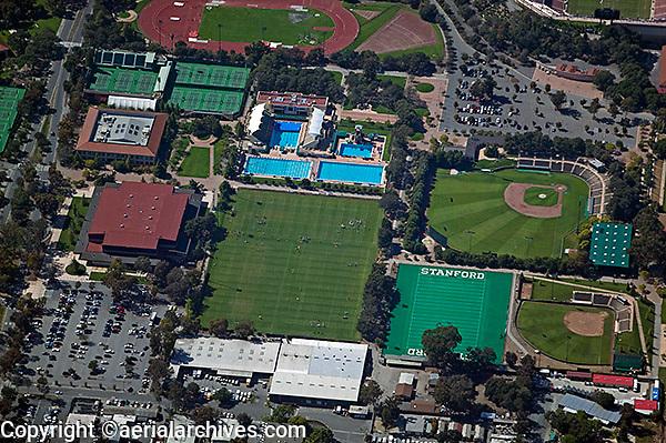 aerial photograph of Stanford University's sports complex, Palo Alto, California