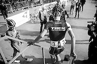Jasper Stuyven (BEL) getting off the start podium (trying to be elegant while wearing cycling shoes)<br /> <br /> 3 Days of West-Flanders<br /> stage 2: Nieuwpoort - Ichtegem 186km