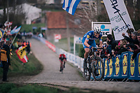 Niki Terpstra (NED/Quick-Step Floors) leading the race over the last ascent of the Paterberg<br /> <br /> 102nd Ronde van Vlaanderen 2018 (1.UWT)<br /> Antwerpen - Oudenaarde (BEL): 265km
