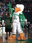 North Texas Mean Green mascot, Scrappy, in action during the NCAA  basketball game between the University of Louisiana at Monroe Warhawks and the University of North Texas Mean Green at the North Texas Coliseum,the Super Pit, in Denton, Texas. ULM defeated UNT 82 to 75...