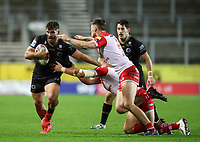 20th November 2020; Totally Wicked Stadium, Saint Helens, Merseyside, England; BetFred Super League Playoff Rugby, Saint Helens Saints v Catalan Dragons; Jason Baitieri of Catalan Dragons takes on Jack Welsby of St Helens