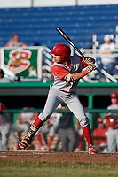 Williamsport Crosscutters third baseman Jesus Henriquez (4) at bat during a game against the Batavia Muckdogs on June 21, 2018 at Dwyer Stadium in Batavia, New York.  Batavia defeated Williamsport 6-5.  (Mike Janes/Four Seam Images)