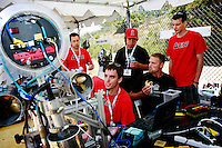 TRANSEC Sonar Test Basin, Point Loma, San Diego, CA, USA. Friday, August 1 2008. Rob Jilson (center) and his teammates from the University of Ottawa make some last minute adjustments to their  Autonomous Underwater Vehicle before the start of competion at the AUVSI's eleventh annual UNDERSEAS competition.