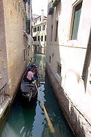 Una gondola al sestiere Castello, Venezia.<br /> A gondola along a canal of the Castello sestiere in Venice.<br /> UPDATE IMAGES PRESS/Riccardo De Luca