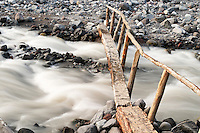 Foot log bridge over Nisqually River near Cougar Rock Campground, Mount Rainier National Park, Washington, US