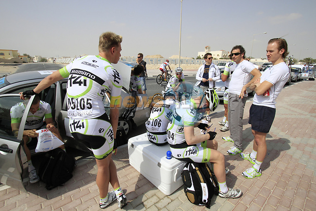 Project IT4i riders prepare before the start of Stage 1 of the Tour of Qatar 2012 running 142.5km from Barzan Towers to Doha Golf Club, Doha, Qatar. 5th February 2012.<br /> (Photo by Eoin Clarke/NEWSFILE).