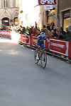 Julian Alaphilippe (FRA) Deceuninck-Quick Step rounds the final corner on his way to win in Siena Strade Bianche 2019 running 184km from Siena to Siena, held over the white gravel roads of Tuscany, Italy. 9th March 2019.<br /> Picture: Seamus Yore   Cyclefile<br /> <br /> <br /> All photos usage must carry mandatory copyright credit (© Cyclefile   Seamus Yore)