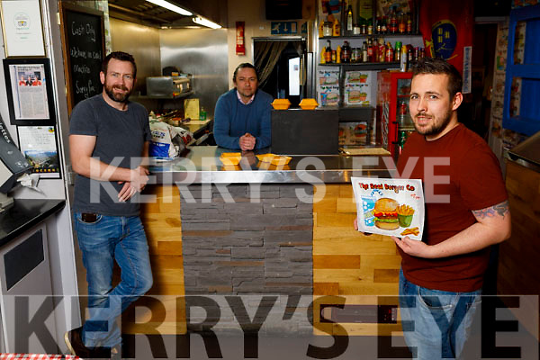 The Real Burger Company in Killorglin are about to embark in selling burgers for a community project fundraiser. <br /> Front, Andrew Foley.<br /> Back l to r: Chad Byrne and Garrath Sheehan.