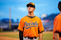 Pitcher Matt Rowland (25) of Pope High School in Marietta, Georgia playing for the Baltimore Orioles scout team during the East Coast Pro Showcase on July 29, 2015 at George M. Steinbrenner Field in Tampa, Florida.  (Mike Janes/Four Seam Images)