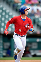 Buffalo Bisons Andy Burns (9) runs to first base during an International League game against the Indianapolis Indians on June 20, 2019 at Sahlen Field in Buffalo, New York.  Buffalo defeated Indianapolis 11-8  (Mike Janes/Four Seam Images)