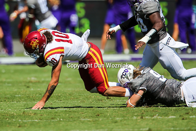 Iowa State Cyclones quarterback Jacob Park (10) in action during the game between Iowa State Cyclones and the TCU Horned Frogs at the Amon G. Carter Stadium in Fort Worth, Texas.