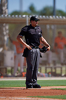 Umpire Ryne Sigmon during a Gulf Coast League game between the GCL Astros and GCL Marlins on August 8, 2019 at the Roger Dean Chevrolet Stadium Complex in Jupiter, Florida.  GCL Astros defeated GCL Marlins 4-2.  (Mike Janes/Four Seam Images)