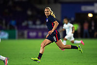ORLANDO CITY, FL - FEBRUARY 24: Lindsey Horan #9 of the USWNT runs towards the ball during a game between Argentina and USWNT at Exploria Stadium on February 24, 2021 in Orlando City, Florida.
