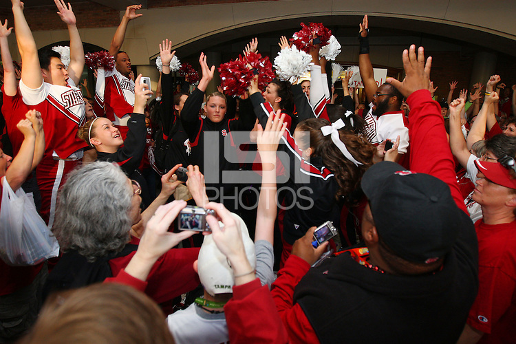 8 April 2008: Stanford Cardinal (not in order) Melanie Murphy, Jayne Appel, Michelle Harrison, JJ Hones, Candice Wiggins, Cissy Pierce, Kayla Pedersen, Hannah Donaghe, Rosalyn Gold-Onwude, Jeanette Pohlen, Ashley Cimino, Morgan Clyburn, and Jillian Harmon during Stanford's send off party before their 64-48 loss against the Tennessee Lady Volunteers in the 2008 NCAA Division I Women's Basketball Final Four championship game at the St. Pete Times Forum Arena in Tampa Bay, FL.