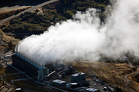aerial photograph of the Geysers, the largest group of geothermal power plants in the world, Lake County, California