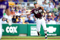 Mississippi State third baseman Phillip Casey #3 throws the ball to first against the LSU Tigers during the NCAA baseball game on March 17, 2012 at Alex Box Stadium in Baton Rouge, Louisiana. The 10th-ranked LSU Tigers beat #21 Mississippi State, 4-3. (Andrew Woolley / Four Seam Images).