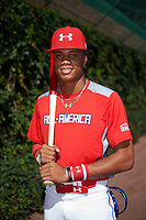Jordyn Adams (3) of Green Hope High School in Cary, North Carolina poses for a photo before the Under Armour All-American Game presented by Baseball Factory on July 29, 2017 at Wrigley Field in Chicago, Illinois.  (Mike Janes/Four Seam Images)
