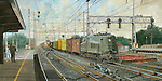 """A P5A electric freight locomotive pulls a manifest freight through the Pennsylvania Railroad station at Rahway NJ, running side by side with a GG1 on the New York to Washington high speed corridor mainline. Oil on canvas, 15"""" x 30""""."""
