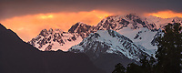 Left to right, Lendenfeld Peak, Mt. Haast and Mt. Tasman of Southern Alps at sunrise, Westland Tai Poutini National Park, UNESCO World Heritage Area, West Coast, New Zealand, NZ