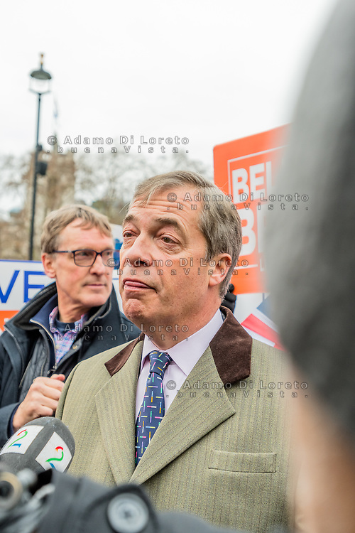 LONDON, ENGLAND - JANUARY 15: Nigel Paul Farage - UKIP -outside the House of Commons on January 15, 2019 in London, England. Theresa May's Brexit deal finally reaches the House of Commons this evening and MPs will begin voting on it at 7pm. The Prime Minister has consistently said her's is the only deal that Brussels will entertain and urged support from Parliament to avoid the UK crashing out of the European Union with no deal. Photo Adamo Di Loreto