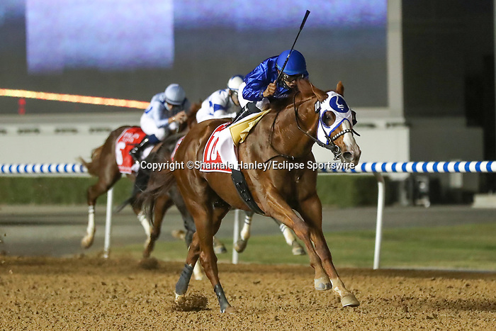 March 27, 2021: MYSTIC GUIDE #10 ridden by Luis Saez wins The Group 1 Dubai World Cup for Michael Stidham  on Dubai World Cup Day, Meydan Racecourse, Dubai, UAE. Shamela Hanley/Eclipse Sportswire/CSM