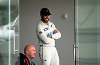 NZ captain Kane Williamson waits to declare from the pavilion during day three of the second International Test Cricket match between the New Zealand Black Caps and Pakistan at Hagley Oval in Christchurch, New Zealand on Tuesday, 5 January 2021. Photo: Dave Lintott / lintottphoto.co.nz