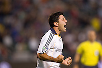 Newly acquired LA Galaxy forward Alecko Eskandarian celebrates his first goal with his new team. The LA Galaxy defeated New England Revolution 1-0 at Home Depot Center stadium in Carson, California Saturday evening July 4, 2009. .