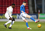 St Johnstone v Livingston…..07.03.20   McDiarmid Park  SPFL<br />Michael O'Halloran and Efe Ambrose<br />Picture by Graeme Hart.<br />Copyright Perthshire Picture Agency<br />Tel: 01738 623350  Mobile: 07990 594431
