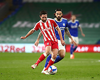 16th March 2021; Cardiff City Stadium, Cardiff, Glamorgan, Wales; English Football League Championship Football, Cardiff City versus Stoke City; Joe Allen of Stoke City plays the ball as he is pressured from behind