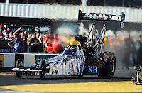 Feb. 19, 2012; Chandler, AZ, USA; NHRA top fuel dragster driver Shawn Langdon during the Arizona Nationals at Firebird International Raceway. Mandatory Credit: Mark J. Rebilas-
