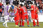 Celta de Vigo's Fabian Orellana, Iago Aspas, Mario Bermejo, Andres Tunez and Hugo Mallo celebrate goal in presence of Real Valladolid's Marc Valiente (l) during Spanish 2th Division match.March 3,2012. (ALTERPHOTOS/Acero)