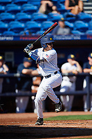 Michigan Wolverines first baseman Hector Gutierrez (24) at bat during a game against Army West Point on February 18, 2018 at Tradition Field in St. Lucie, Florida.  Michigan defeated Army 7-3.  (Mike Janes/Four Seam Images)