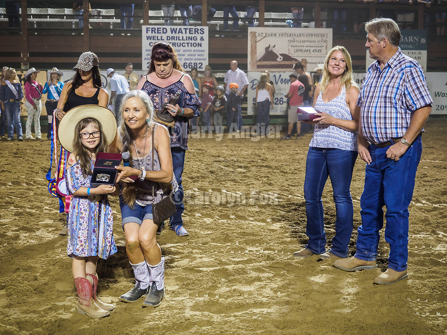 Youth horsemanship awards presented during the rodeo, including the Benny Brown memorial award and the prestigious Rex Nicholson trophy for the highest-scoring youth, Saturday night at the 80th Amador County Fair, Plymouth, Calif.<br /> .<br /> .<br /> .<br /> .<br /> #AmadorCountyFair, #1SmallCountyFair, #PlymouthCalifornia, #TourAmador, #VisitAmador