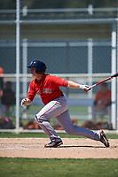 Boston Red Sox Ben Moore (23) bats during a minor league Spring Training game against the Baltimore Orioles on March 16, 2017 at the Buck O'Neil Baseball Complex in Sarasota, Florida. (Mike Janes/Four Seam Images)