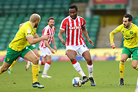13th February 2021; Carrow Road, Norwich, Norfolk, England, English Football League Championship Football, Norwich versus Stoke City; Mikel John Obi of Stoke City is under pressure from Teemu Pukki of Norwich City