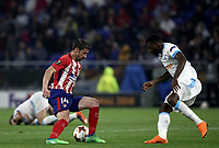 Club Atletico de Madrid's Gabi, left, is challenged by Olympique de Marseille's Andre Zambo Anguissa during the UEFA Europa League final football match between Olympique de Marseille and Club Atletico de Madrid at the Groupama Stadium in Decines-Charpieu, near Lyon, France, May 16, 2018.<br /> UPDATE IMAGES PRESS/Isabella Bonotto