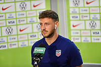 ORLANDO CITY, FL - JANUARY 31: Paul Arriola #7 of the United States being interviewed before a game between Trinidad and Tobago and USMNT at Exploria stadium on January 31, 2021 in Orlando City, Florida.