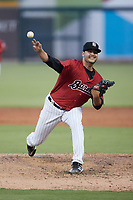 Birmingham Barons starting pitcher Blake Battenfield (22) in action against the Mississippi Braves at Regions Field on August 3, 2021, in Birmingham, Alabama. (Brian Westerholt/Four Seam Images)
