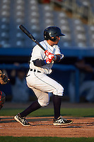 Connecticut Tigers outfielder Jose Zambrano (28) at bat during the first game of a doubleheader against the Brooklyn Cyclones on September 2, 2015 at Senator Thomas J. Dodd Memorial Stadium in Norwich, Connecticut.  Brooklyn defeated Connecticut 7-1.  (Mike Janes/Four Seam Images)
