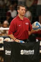 8 September 2007: Stanford Cardinal assistant coach Jason Mansfield during Stanford's 28-30, 30-18, 30-22, 30-26 win in the Stanford Invitational against the Brigham Young Cougars at Maples Pavilion in Stanford, CA.