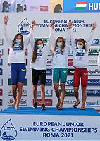 Hungary winner<br /> 4x200 freestyle relay women podium<br /> swimming, nuoto<br /> LEN European Junior Swimming Championships 2021<br /> Rome 2176<br /> Stadio Del Nuoto Foro Italico <br /> Photo Giorgio Scala / Deepbluemedia / Insidefoto