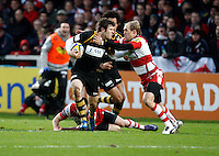 Photo: Richard Lane/Richard Lane Photography. Gloucester Rugby v London Wasps. Aviva Premiership. 26/12/2011. Wasps' Elliot Daly is tackled by Gloucester's Olly Morgan.